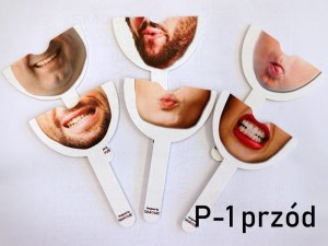 Set of 6pcs double sided stick prop - face/mouth number P-1