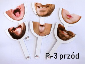 Set of 6pcs double sided stick prop - face/mouth number P-3