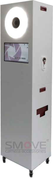 Photobooth body with a coin acceptor mounted